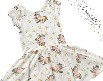 Metallic Unicorn Magical Summer Floral Twirl Dress Perfect Wedding Gift Special Baby