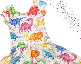 Rainbow Dinosaur Dress, Dino Dress, Toddler Twirly Dress, Girls Dress, Twirl Dress, Toddler Twirl Dress, Dinosaur Dress