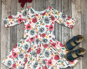cf3d0d0bd7 Colorful Floral Dress - Floral Dress - Fall Dress - Fall Floral Dress - Toddler  Dress - Twirl Dress - Thanksgiving Dress - Girls Dress