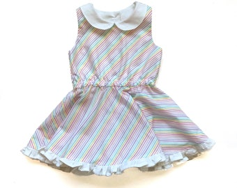 96aaac55b Rainbow Spin Dress, Twirly Dress, Toddler Twirl Dress, Peter Pan Collar,  Striped Dress, Back to School Dress