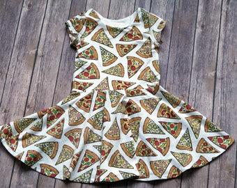 Pizza Dress. Pizza Party Dress. Food Dress. Baby Dress. Toddler Dress. Little Girl Dress. Twirl Dress. Twirly Dress. Play Dress.