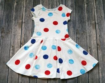 Polka Dot Dress -  Memorial Day Dress - Baby Dress - Patriotic Dress - Twirl Dress - Twirly Dress - Toddler Dress - Girls Dress