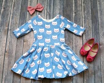 Purple Cat Dress. Kitty Dress. Baby Dress. Toddler Dress. Little Girl Dress. Twirl Dress. Twirly Dress. Play Dress. Baby Cat Dress.