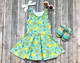 Lemon Dress - Fruit Dress - Summer Dress - Baby Dress - Toddler Dress - Girls Dress - Twirl Dress - Baby Lemon Dress - Girls Lemon Dress