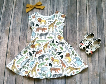 Zoo Dress - Safari Dress - Kid Safari Dress - Toddler Dress - Girls Dress - Toddler Twirl Dress - Baby Dress - Play Dress - Zoo Party Dress