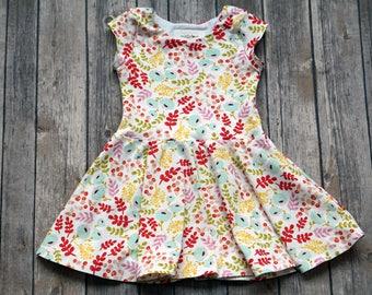 Spring Flowers Dress. Spring Dress. Easter Dress. Toddler Dress. Little Girl Dress. Twirl Dress. Floral Dress. Twirly Dress.