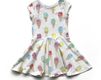 Ice Cream Twirl Dress, Toddler Twirl Dress, Little Girl Dress, Twirly Dress, Baby Dress, Ice Cream Dress, Kids Dress, Girls Easter Dress