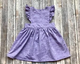 Purple Pinafore Dress - Chambray Dress - Toddler Pinafore - Girls Pinafore - Bright Pinafore - Summer Dress - Baby Dress - Pinnie Dress