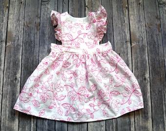 Pinafore Dress - Floral Pinafore Dress - Embroidered Dress - Pink Toddler Pinafore - Girls Pinafore - Pink Toddler Dress - Pinnie Dress