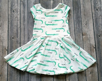 Alligator Dress. Crocodile Dress. Baby Dress. Toddler Dress. Girl Dress. Twirl Dress. Twirly Dress. Play Dress. Back to School