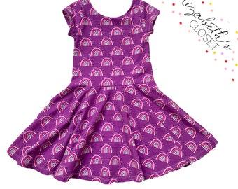Purple Rainbow Dress, Rainbow Party Dress, Back to School Dress, Toddler Twirl Dress, Twirl Dress, Little Girl Dress,
