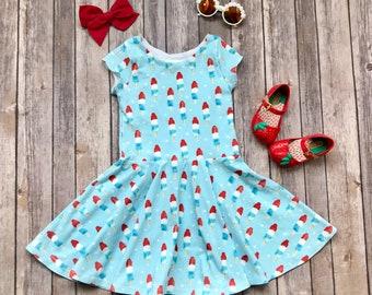 READY TO SHIP - Size 4T - Short Sleeves - Ice Pop Dress - Fourth of July Dress - Patriotic Dress - Summer Dress - Twirl Dress
