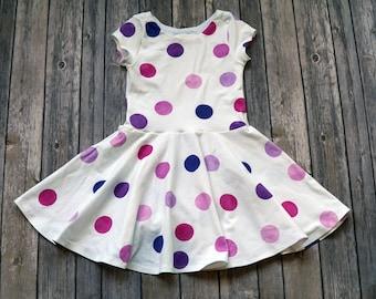 Purple Polka Dot Dress. Purple Dress. Baby Dress. Toddler Dress. Little Girl Dress. Twirl Dress. Twirly Dress. Polka Dot Baby Dress