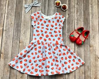 Blue Strawberry Dress - Fruit Dress - Summer Dress - 4th of July Dress - Patriotic Dress - Girls Dress - Strawberry Dress - Twirl Dress
