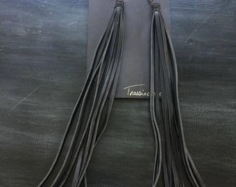 Black Leather Fringe Earrings