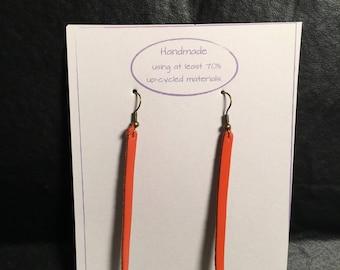 Orange Faux Leather Earrings