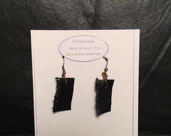 Black Leather Square Earrings
