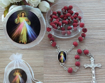 Keychain Rosary Round Blue and Red Heart Czech Glass Beads Rosary Keychain with Divine Mercy Medal