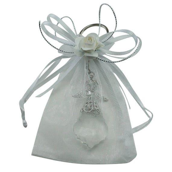 12 Pcs Angel Crystal Keychain Decorated Organza Bag Wedding Etsy
