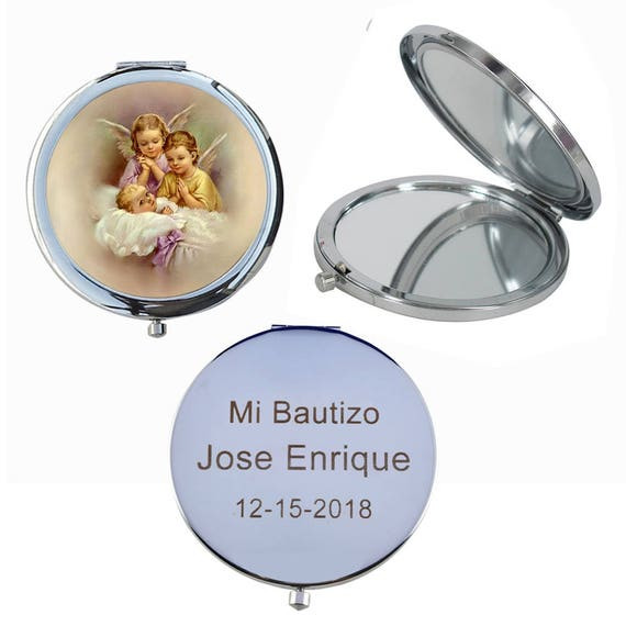 12 Pcs Baptism Compact Mirror Party Favor Set Bautizo Recuerdos//Baby Angels Makeup Compact//First Communion