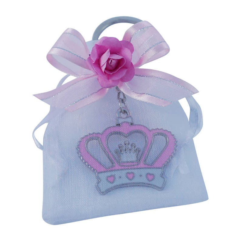 4779a7843 12 PCS Crown Girl Baby shower Keychain Favors decorated