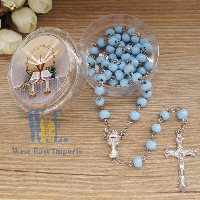 12 PCS First Communion Favor Blue Scented Rose Petal Rosary Necklace Gift for guest Rosario de Recuerdo para Primera Comunion