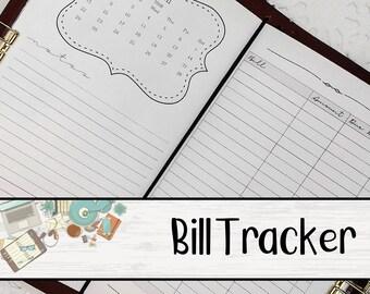 Bills Tracker Traveler's Notebook Insert - 12 Month Bill Tracker - TN Insert - Printed Traveler's Notebook Insert - 9 Sizes