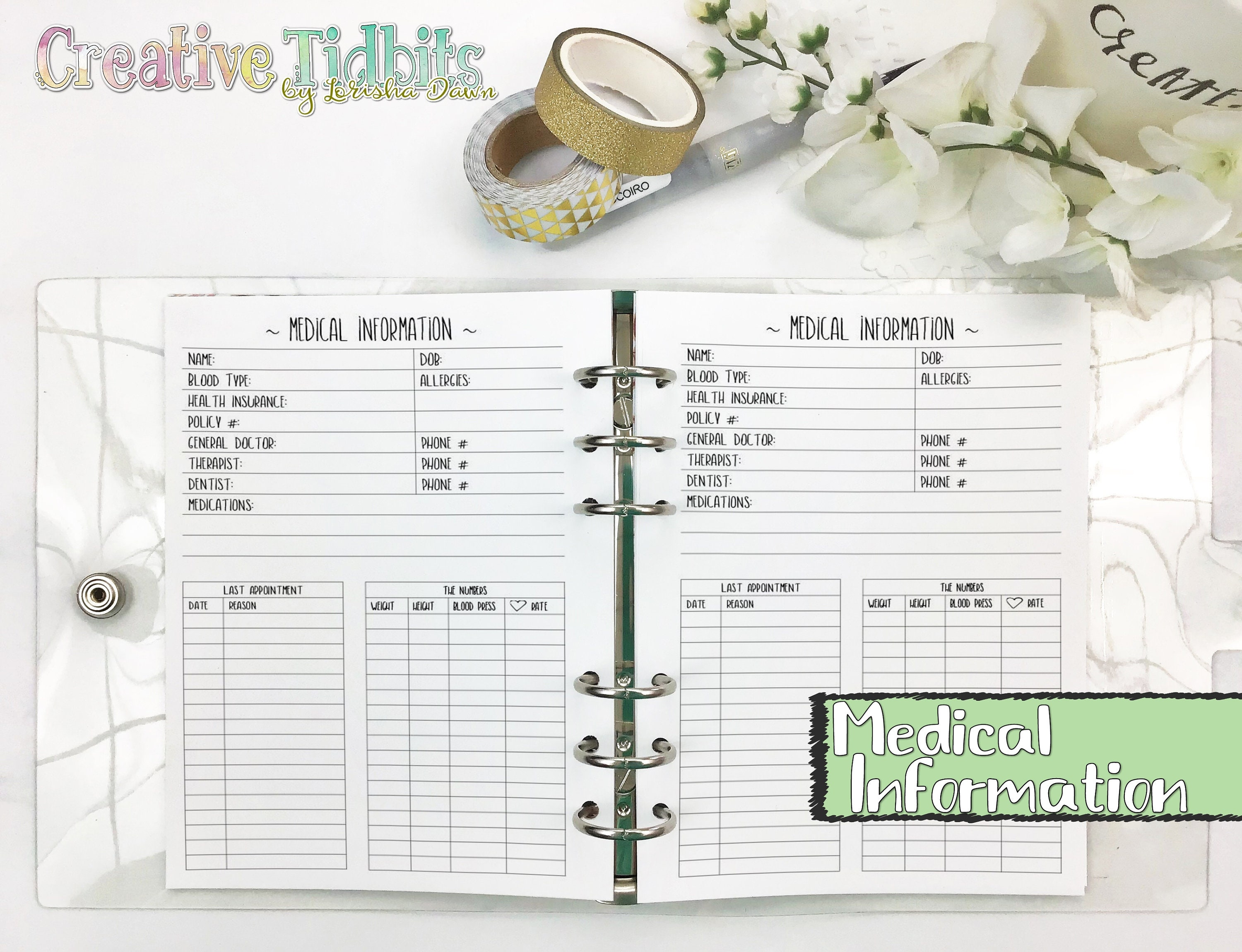 Medical Information - Doctor's Appointment Tracker - A6 Rings Insert -  Personal Wide Rings Insert - Pocket Rings Insert - Medical Tracker