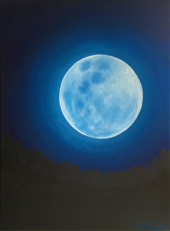 Blue Moon Painting Celestial Art Glowing Moon Wall Art Etsy