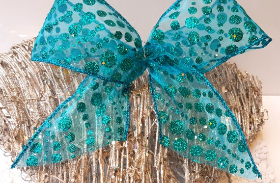 "Wired Wire Edge Christmas Ribbon Teal Blue Glitter Spot 2.5/"" wide x 3m Bows cake"