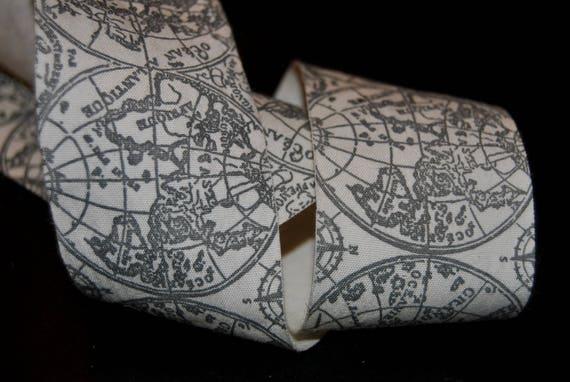"""World Atlas lin ruban Vintage, 2"""" de large de mariage, géographie, voyages, artisanat, ruban, garniture, fournitures, ruban de gâteau, Français ruban de couture"""