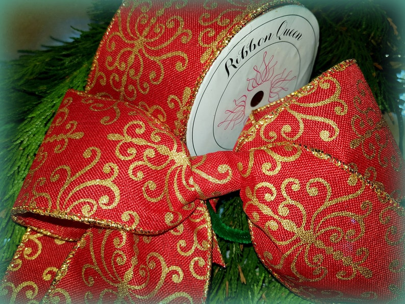 """Rose Gold Glitter Sparkle Encrusted Wire edged Wired Christmas Ribbon 2.5/"""" wide"""