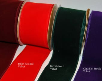 """2.5"""" Wired Edge Velvet Ribbon Purple, Green, Red, Burgundy Christmas, Trees, Wreaths, Gifts, Cakes, Crafts"""
