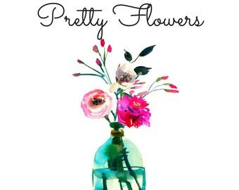 Premade Logo, Floral Logo, Watercolor Logo, Watercolor Flowers, Flower Logo, Business Branding, Custom Logo, Floral Vase, Painted Flowers