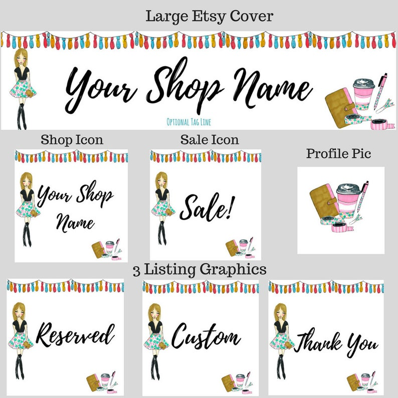Custom Shop Set Planner Girl Etsy Cover Set Illustrated Banner Fashion Girl Boutique Cover Planner Cover Etsy Shop Set