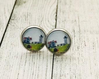 Nubble Lighthouse York Maine Stainless Steel Earrings