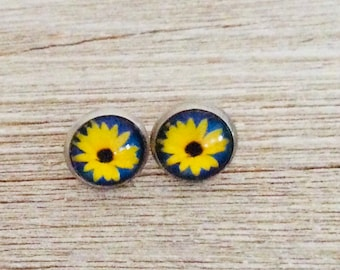 Black Eyed Susan Flower Stainless Steel Earrings