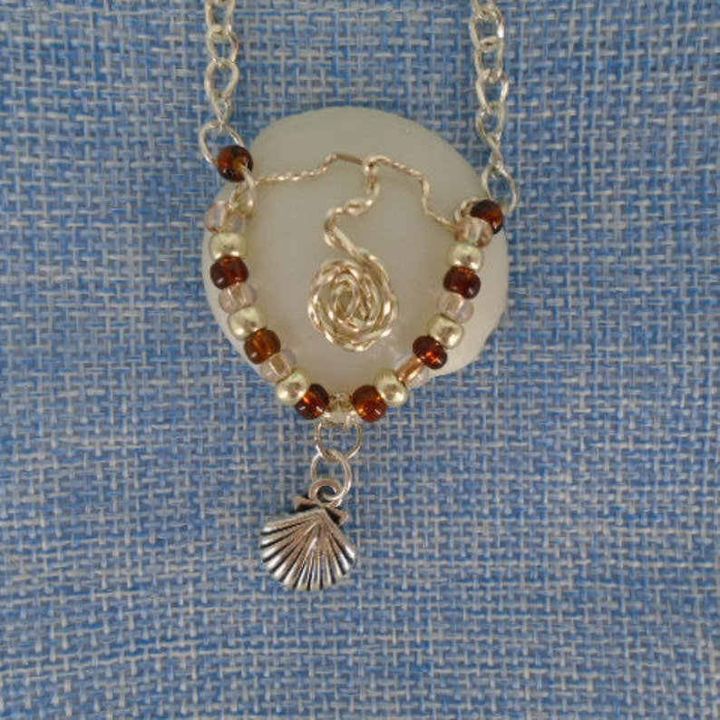 White natural Lucina Seashell pendant,silver wire wrapped,multi color glass beads,silver plated plated chain,Boho Style jewelry