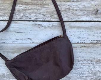 Vintage Oxblood Crossbody Bag Distressed Leather Purse 1970s