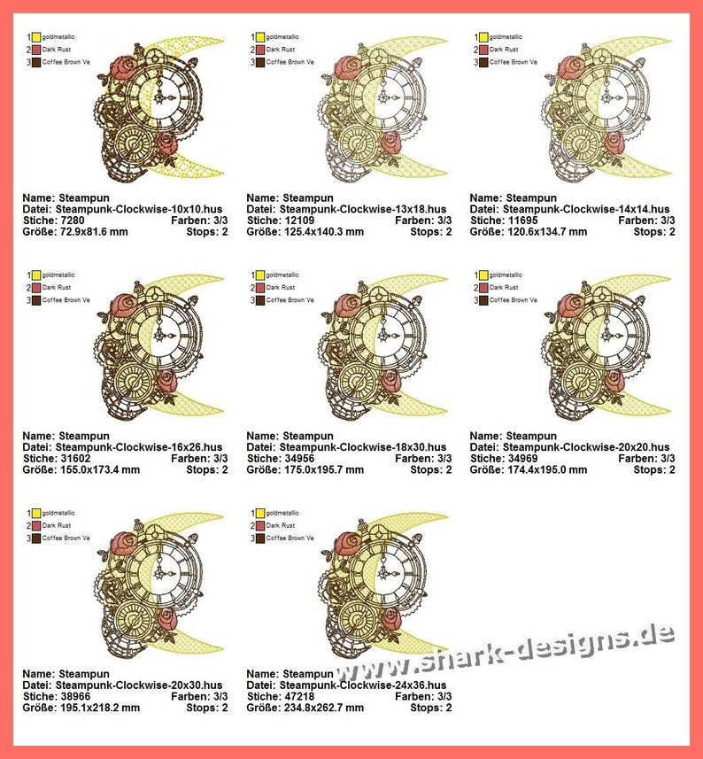 Sticky file steampunk Clockwise in 8 sizes machine embroidery embroidery motif