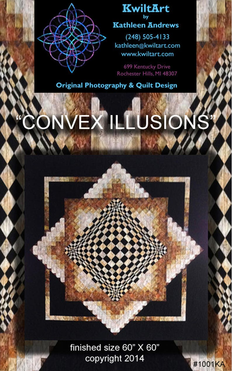 Convex Illusions Quilt Pattern Digital File Download image 0