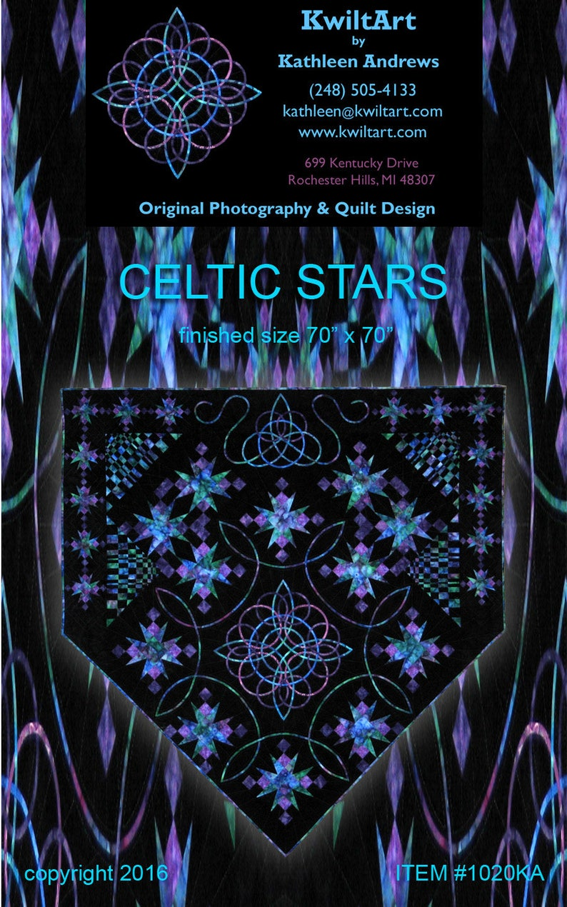 Celtic Stars Quilt Pattern Digital File Download image 0