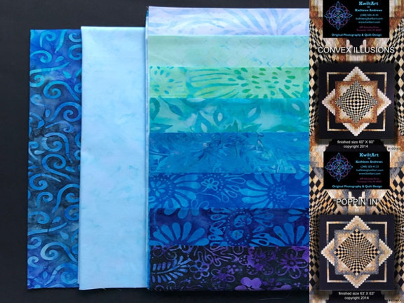 Convex Illusions and Poppin In Quilt Kit-Marine Blues