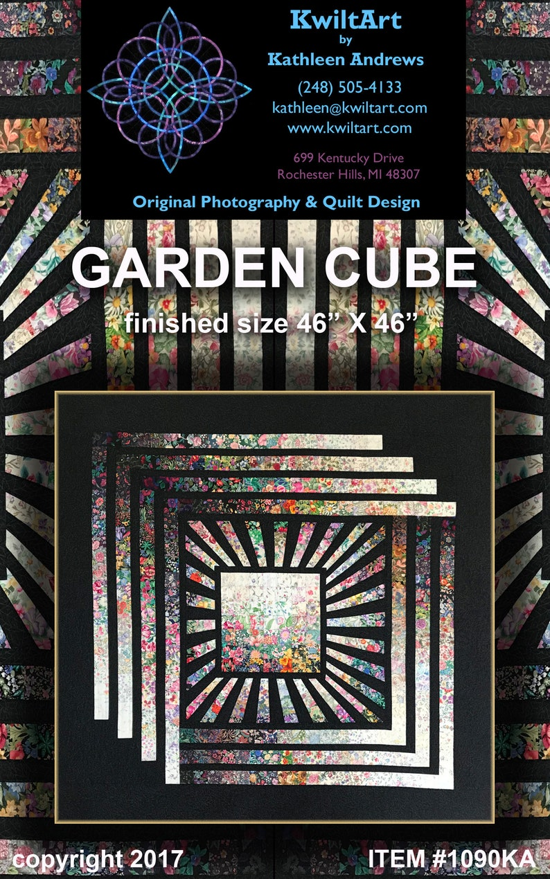 Garden Cube Quilt Pattern Digital File Download image 0