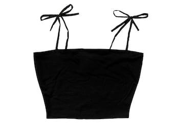 Cute Tie Strap Cami Crop Top (BLANK) | Unique Alt Goth E-Girl Grunge Clothing Plus Size