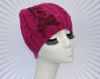 865761c90ad Women s winter cable hat with lace Girl hand knit hat with braids Winter  bobble wool hat Hot pink hat