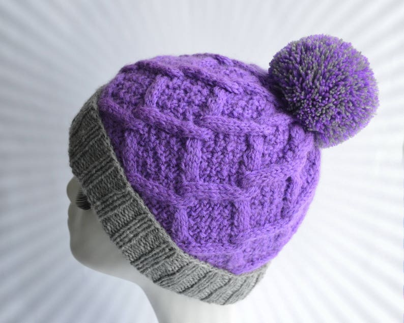 768e4338a12 Purple knit hat Women s knitted hat Winter cable hat