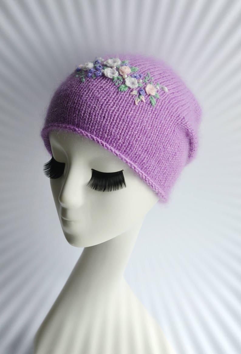 Woman embroidery flower hat Purple knit winter hat Embroidery wildflower slouch beanie Women wonder hat Chunky wool knit hat Best beanie