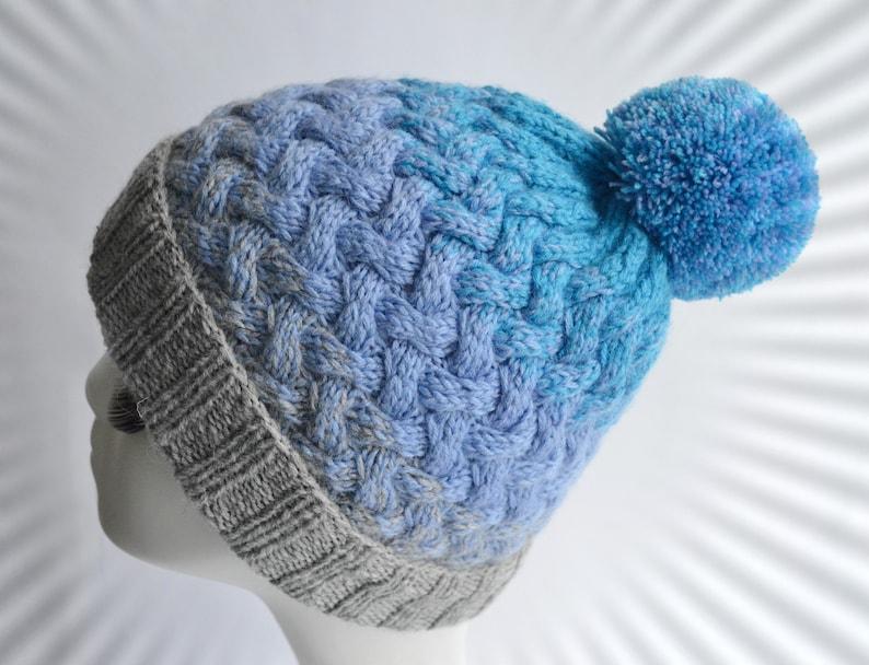 b6482b09405 Women blue hat with Pom pom knit hat Wool hat Warm cable knit