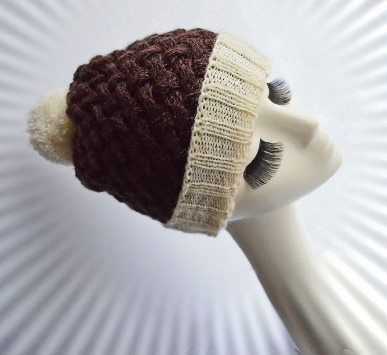 5aa6ae62b5c Women brown knit hat with pompom Bobble cable winter beanie